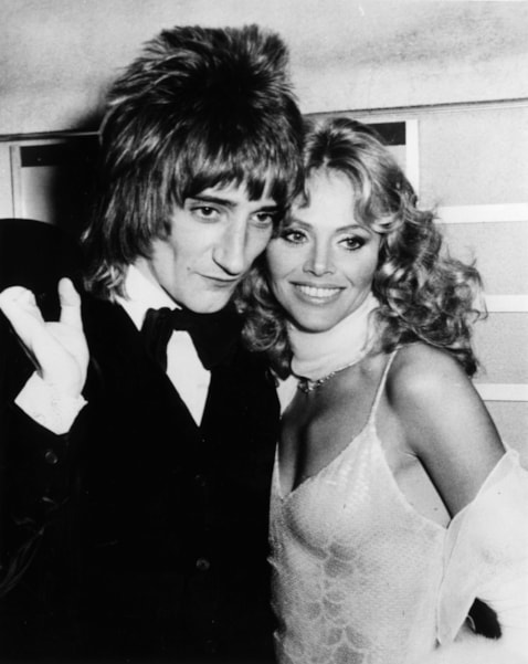27th March 1975:  Rod Stewart and Britt Ekland attending the film premiere of Ken Russell's film of Pete Townshend's rock opera 'Tommy'.  (Photo by Keystone/Getty Images)